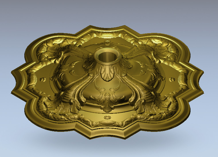 3D Round Plate Ring Relief Model In STL Format For CNC Router Carving Engraving Artcam Aspire R56