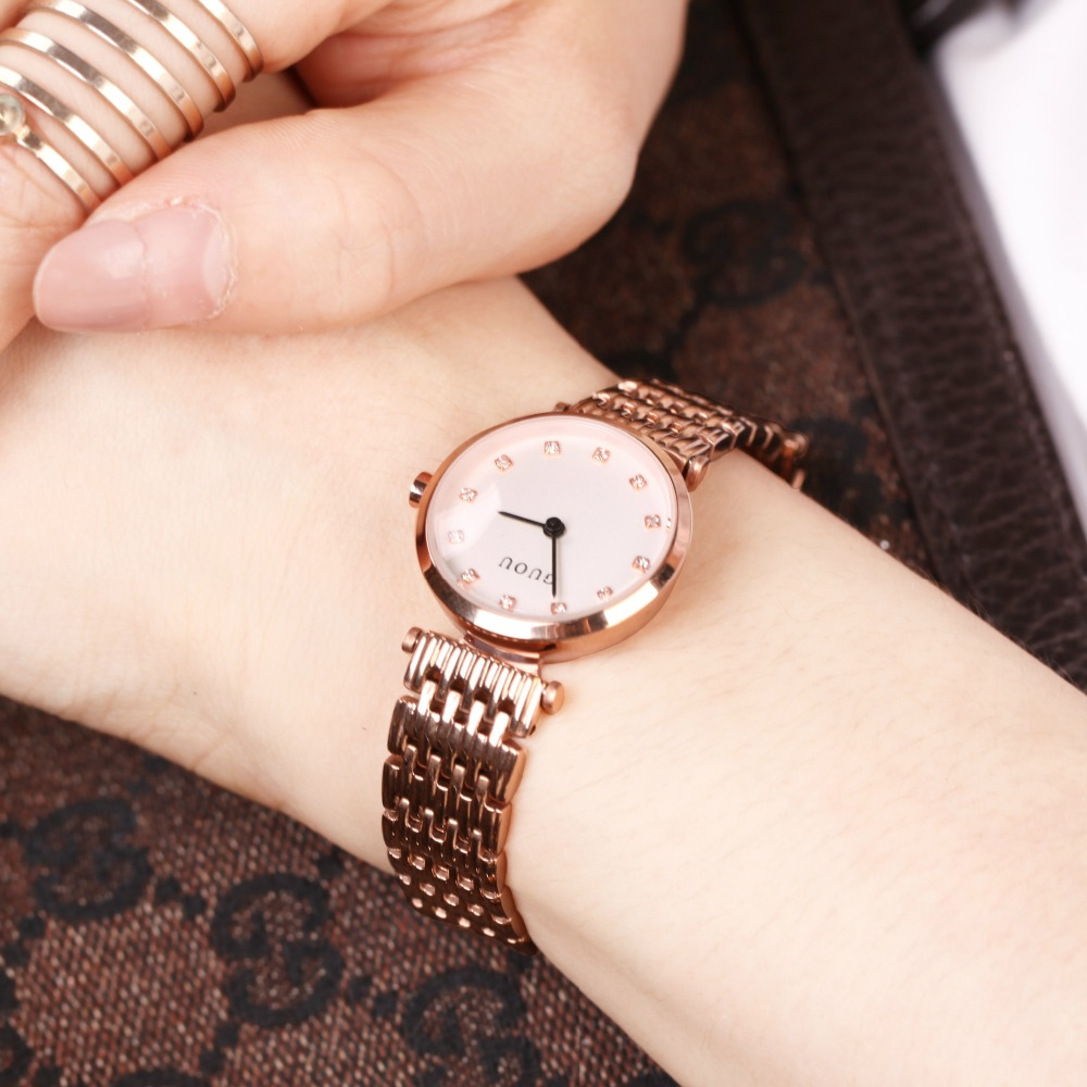 GUOU Brand  Luxury Rose Gold Steel Bracelet Wristwatch Clock Dress Women Watches Business Quartz Ladies Watch Relogio Feminino weiqin new 100% ceramic watches women clock dress wristwatch lady quartz watch waterproof diamond gold watches luxury brand