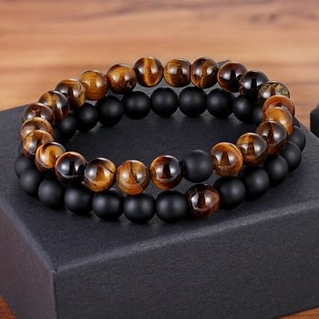 7 Style 2pcs/set Natural Stone Couples Bracelet Yoga Bracelet  Couples Bracelets