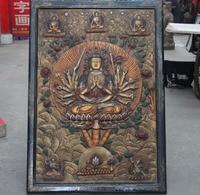 Free Shipping 43 Tibet Wood Inlay Copper Board Painted Maha Cundi Bodhisattva Kwan Yin Thangka