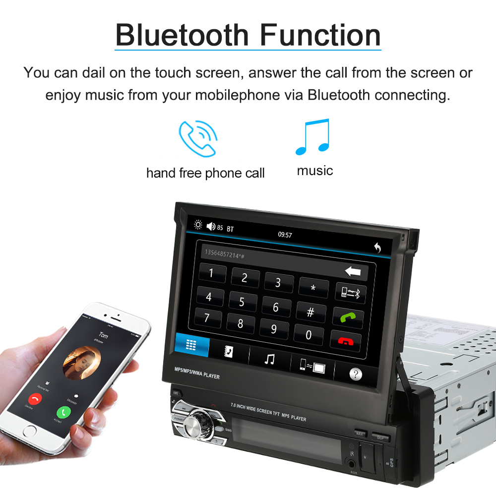 Universal 7inch Car Stereo Radio Player GPS Navigation Retractable MP5 Player with Bluetooth FM USB SD 7 touch screen 7026 car bluetooth mp5 player gps navigation support tf usb aux fm radio rearview camera steering wheel control