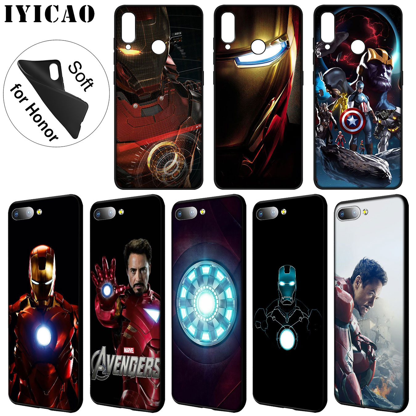 IYICAO <font><b>Marvel</b></font> Iron man Soft Silicone Phone <font><b>Case</b></font> for <font><b>Huawei</b></font> Y9 <font><b>Y7</b></font> Y6 Prime <font><b>2019</b></font> Cover Honor 20 8C 8X 8 9 9X 10 Lite 7C 7X 7A Pro image