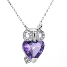 Фотография Owl Necklace 925 Sterling Silver Heart Shape Amethyst Gifts for Women - VIKI LYNN