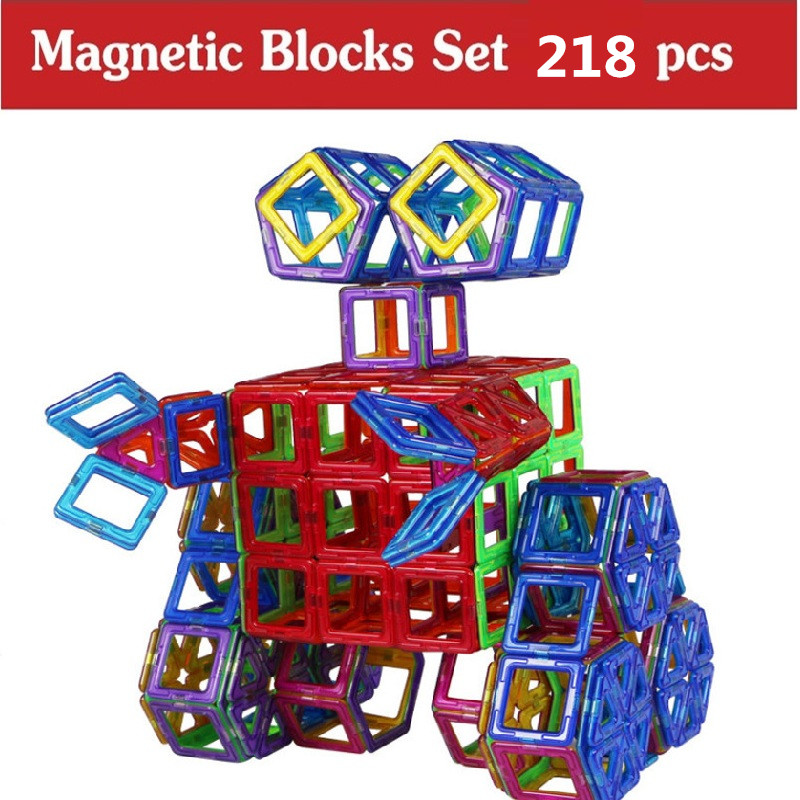 218 Pcs  Magnetic Designer Construction Toy Kids Educational Toys Plastic Creative Bricks Enlighten Magnetic Building Blocks 32pcs magnet toy 2016 new magnetic pipe building block children diy educational construction enlighten baby toys creative bricks