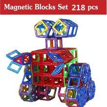 218 Pcs  Magnetic Designer Construction Toy Kids Educational Toys Plastic Creative Bricks Enlighten Magnetic Building Blocks
