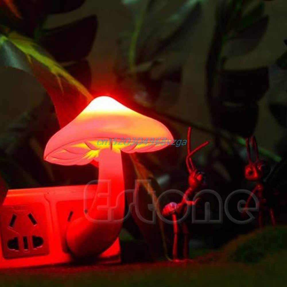 New font b Night b font Light Style Mini Soft Romantic Sensor Mushroom Baby Room Bed