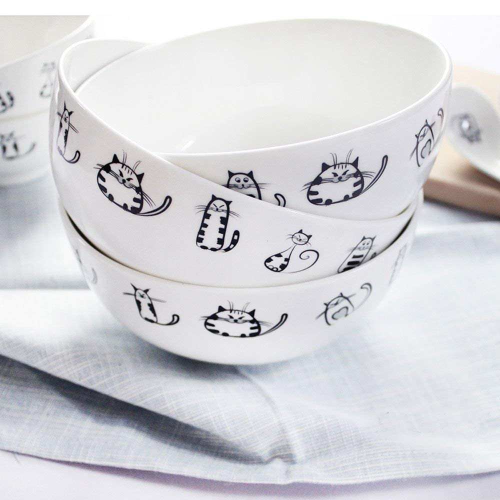 uper Cute Cat Ceramic Bowl Dinner Soup, Or Pasta Bowls, Cereal, Ice Cream, Salad, Fruit Bowl for Party Kitchen Birthday Wedding Catering Meow Porcelain 5.9inch 2