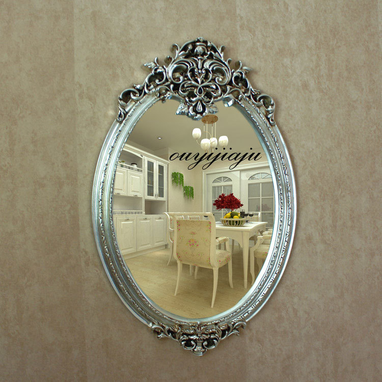 large big decorative cosmetic antique oval wall mirror with frame ...