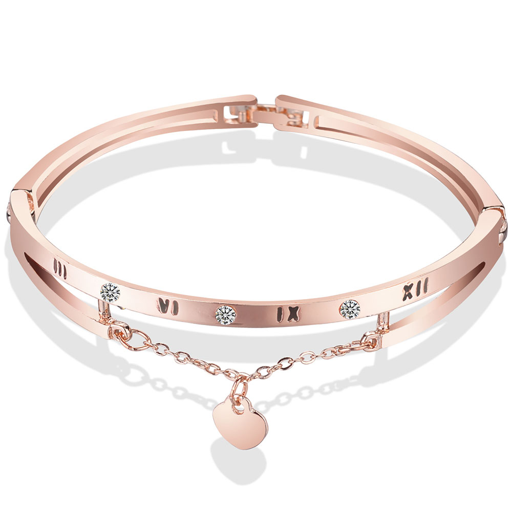 2018 new style simple women's heart chain bracelet, multi touch peach pendant, fine Bracelet mixed batch W517