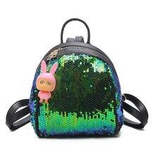 Mujeres moda lentejuelas mini mochila Shell forma pu mochila adolescente mochila mujer cuero calidad superior Bolso pequeño mochila