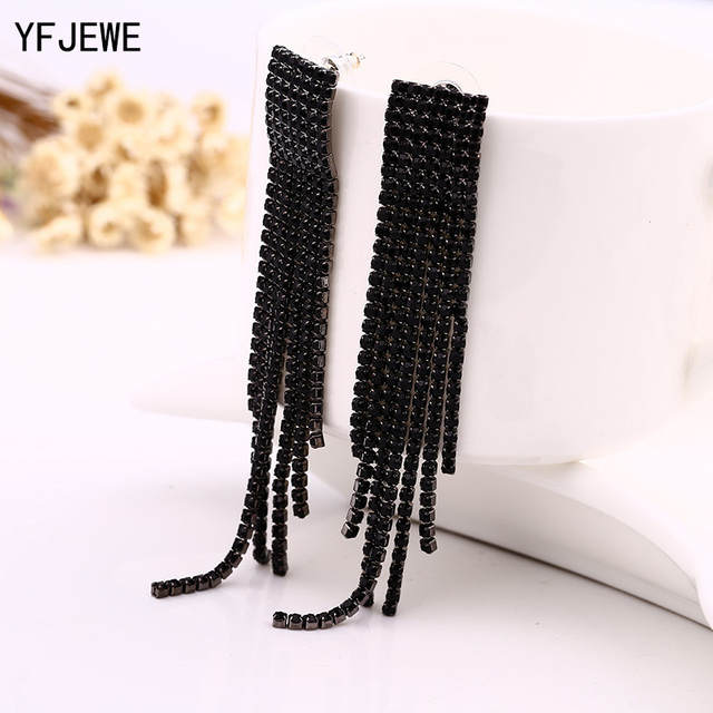 Black Full Rhinestone Vintage Tassel Earrings Drop Earring Quality Earrings For
