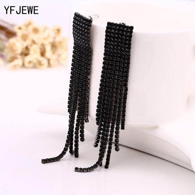 Black Full Rhinestone Vintage Tassel Earrings Drop Earring Quality Earrings  For Women Luxury Jewelry Long Dangle 21305ca5c363