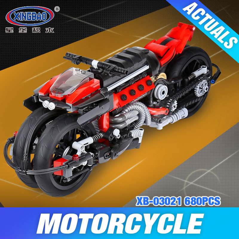 Xingbao 03021 680Pcs Technic Series The Off-road Motorcycle Set Building Blocks Bricks Educational Children DIY Toys Model Gift hot sale 1000g dynamic amazing diy educational toys no mess indoor magic play sand children toys mars space sand