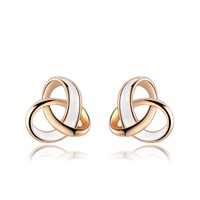 Roxi Brand Exquisite Women Earrings Rose Gold Plated White Enamel Double Circle Cross Stud Earrings Female