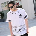 Novo 2016 Moda Mens T Shirts Estrelas Listrado Impresso Hip Hop camisa masculina Homens Exercício Jersey Hombre Camisetas 3XL 4XL 5XL 185