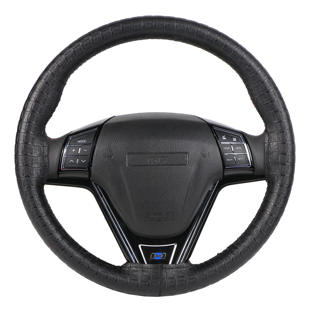 Image 4 - Synthetic Leather DIY Wrap Steering Wheel Cover/Artificial Crocodile Skin Steering Grip Collar protection Automotive Interior-in Steering Covers from Automobiles & Motorcycles
