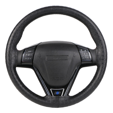 Synthetic Leather DIY Wrap Steering Wheel Cover/Artificial Crocodile Skin Steering Grip Collar protection Automotive Interior Islamabad