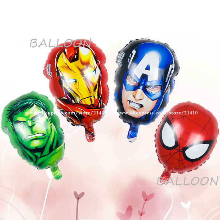 4pcs/lot The Avengers foil balloons super hero baby toys hulk Captain America superman batman Iron man spider-man helium balloon