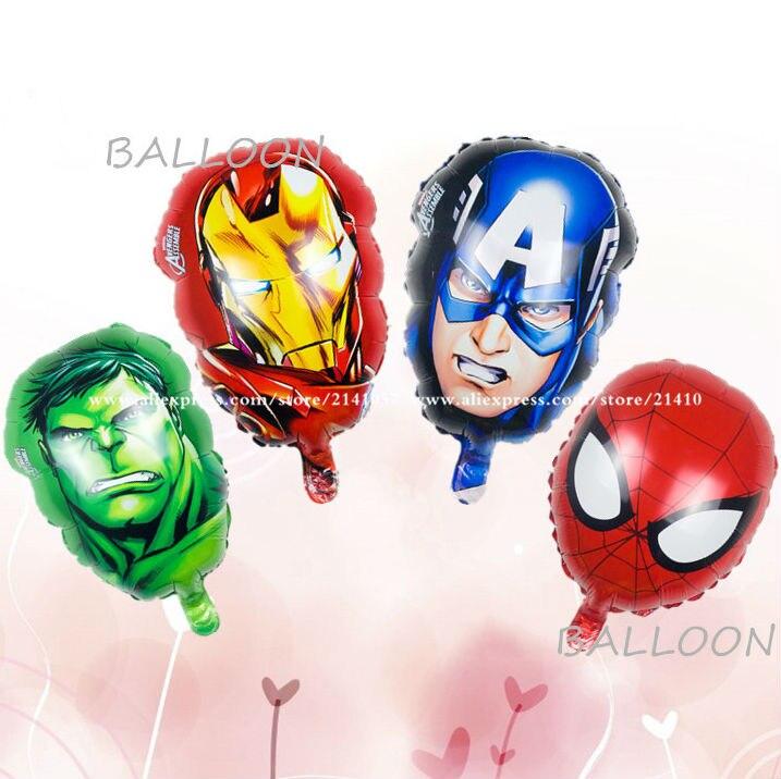 4pcs/lot The Avengers foil balloons super hero baby toys hulk Captain America superman batman Iron man spider-man helium balloon