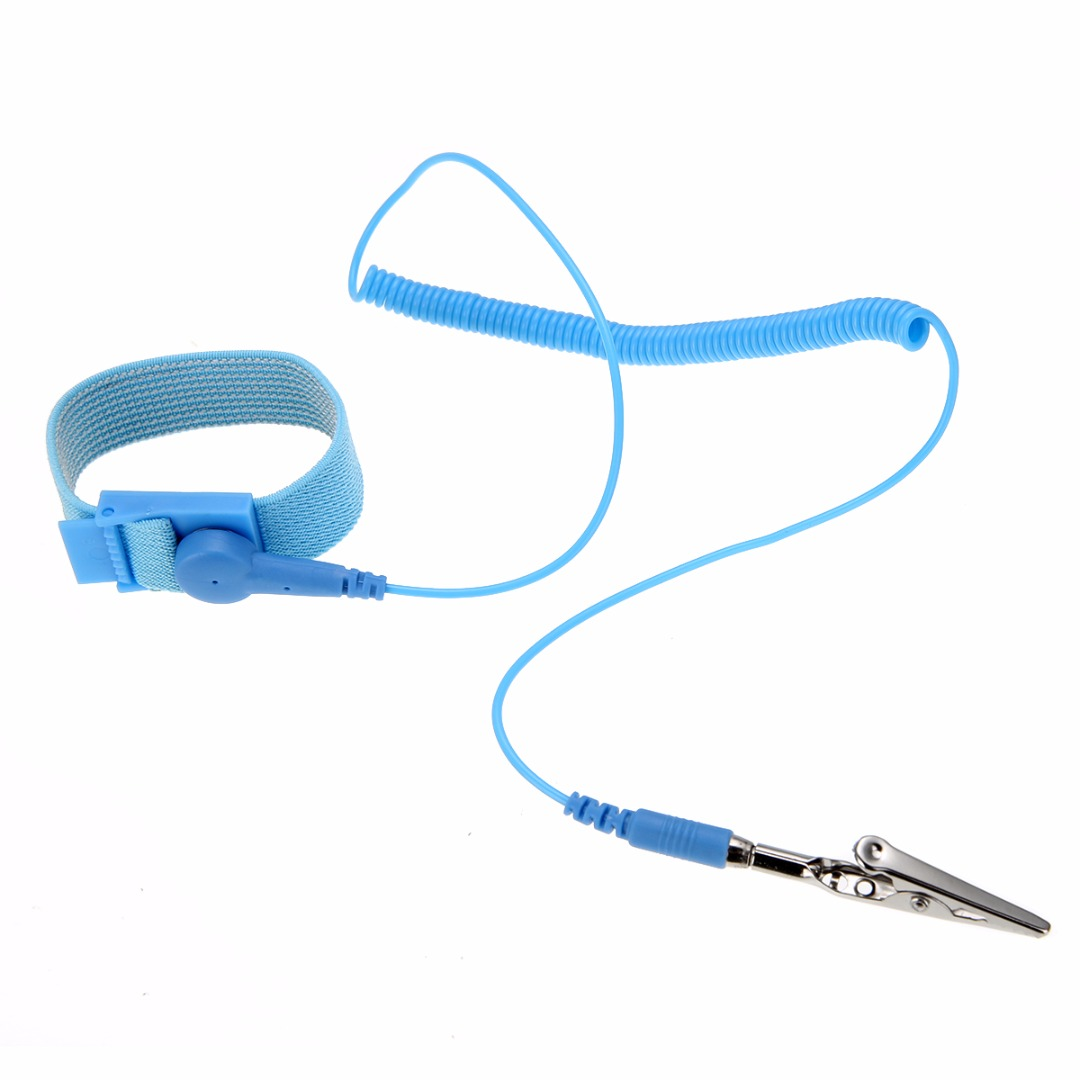 Blue Electricity Grounding Wired Wristband Anti Static ESD Discharge Wrist Strap Band with 180cm Length Cable adjustable anti static bracelet electrostatic esd discharge cable reusable wrist band strap hand with grounding wire