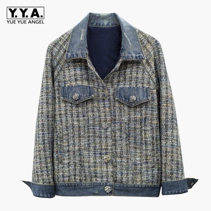 Top Kwaliteit Womens Diamonds Plaid Tweed Patchwork Denim Jassen Lange Mouwen Single Breasted Streetwear Vrouwelijke Bovenkleding Jassen