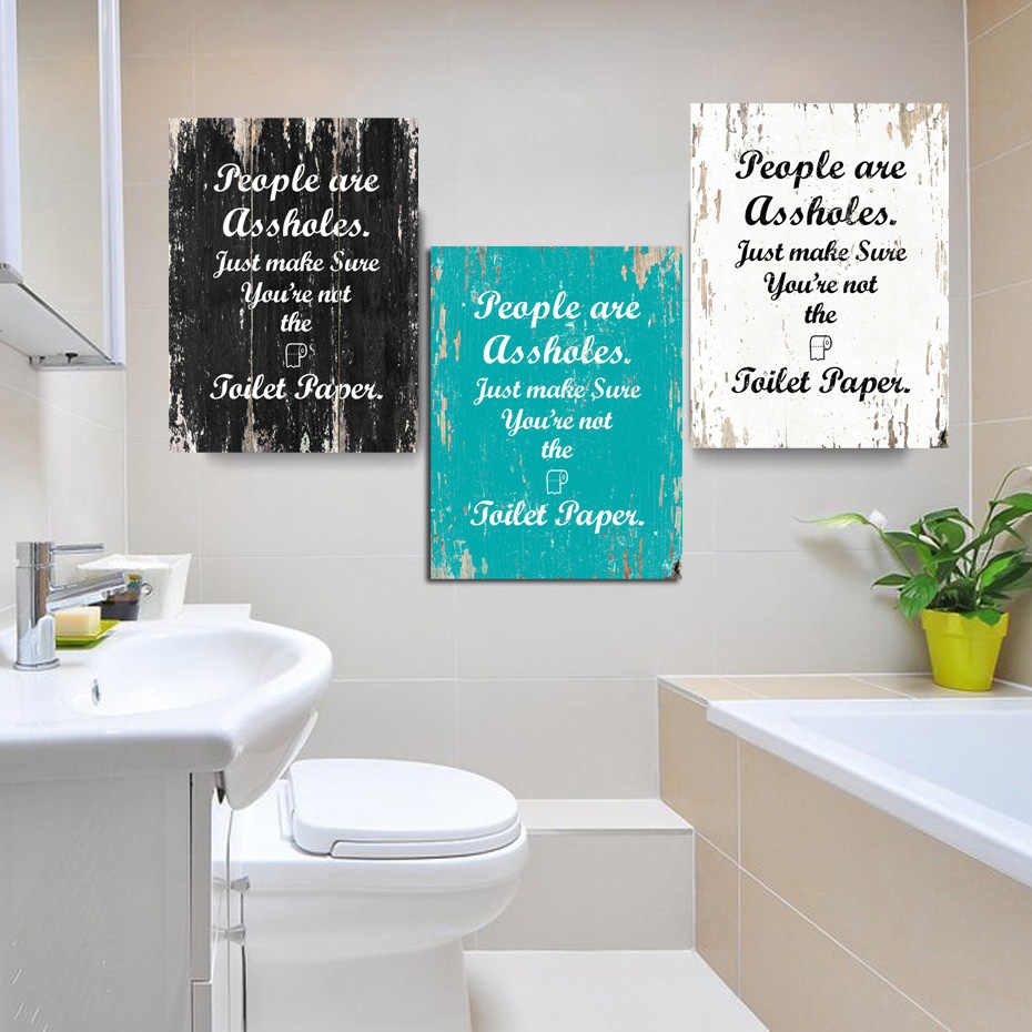 Vintage Toilet Paper Inspirational Quotes Wall Art Paintings DIY Photo Framed Prints Posters Pictures Frame Bathroom Home Decor