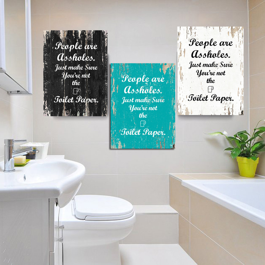 Vintage Toilet Paper Inspirational Quotes Wall Art Paintings Diy Photo Framed Prints Posters Pictures Frame Bathroom Home Decor Painting Calligraphy Aliexpress