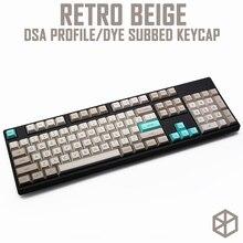 Dsa Style Keycap Set PBT, пластиковый, ретро, бежевый, для механической клавиатуры, бежевый, серый, cyan gh60, xd64, xd84, xd96, 87, 104
