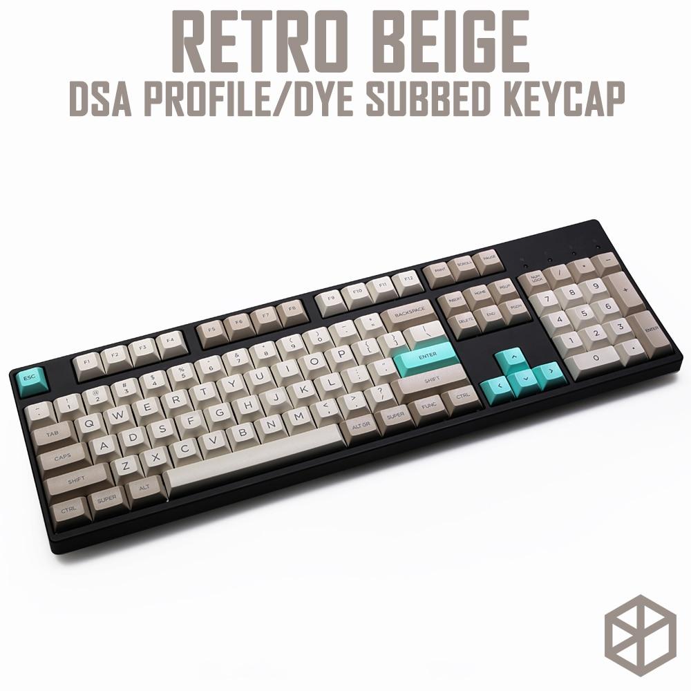 Dsa Profile Dye Sub Keycap Set PBT Plastic Retro Beige For Mechanical Keyboard Beige Grey Cyan Gh60 Xd64 Xd84 Xd96 87 104