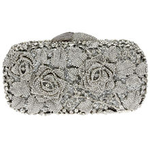 DC1989 Quality Rhinestones Evening Bag Silver White Color Plated Clear Crystals Wedding Bridal Metal Clutches 50 CM Metal Chain
