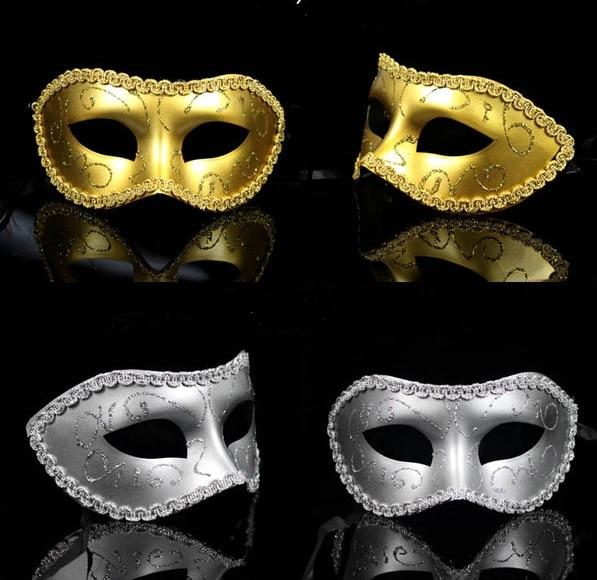 Imitation metal Gold Black Silver His   Her Masquerade Couple Mask Set Gold  Men Women Lovers 0d24a9131da4
