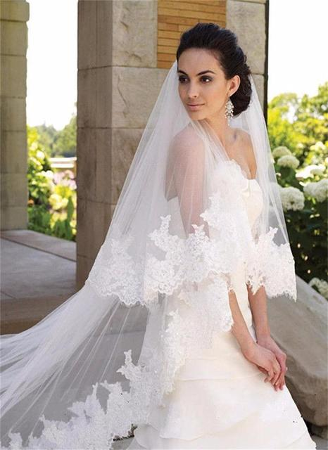 2017 Hot Sell Luxury Long Bridal Veils 3-meter Two Layers Appliques Veil With Comb Wedding Accessories for Bride Free Shipping