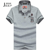 NIAN AFS JEEP Short Sleeve Cotton Made T Shirt New Arrival Active Man Social Buttons Neck
