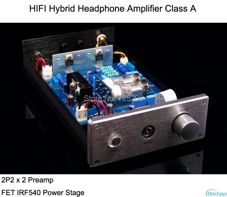 Hybrid Tube Headphone Amplifier Class A 2P2 Preamp FET IRF540 Power Stage Aluminum Casing HIFI Black appj pa1502a tube headphone amplifier