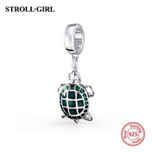 Summer New 925 Sterling Silver Animal Tortoise Green Enamel Charms Beads fit Pandora Charm Bracelet Original Jewelry Gifts