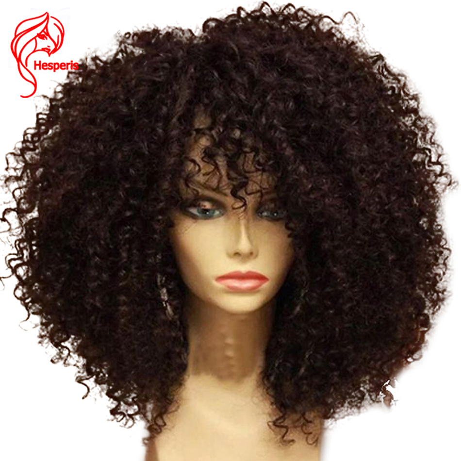 Hesperis13X6 Parte Dianteira Do Laço Perucas de Cabelo Humano Para As Mulheres Negras 130 denistity Preplucked Remy Brasileiro Afro Kinky Curly Perucas de Cabelo Humano