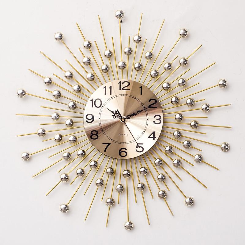 European Beautiful Creative Wrought Iron Wall Clock Modern Home Living Room Mute Clock Simple Fashion Decorative Quartz Clock
