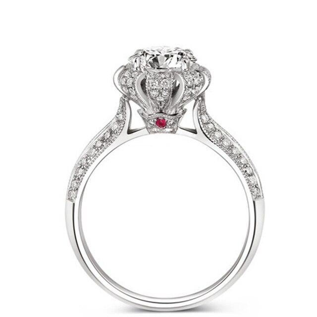EDI Классические Сказки Навсегда Императорская Корона 14 К 585 Белый золотое Кольцо 1Ct Имитация Алмазный Рубин Обручальное Кольцо Для Женщин ювелирные изделия