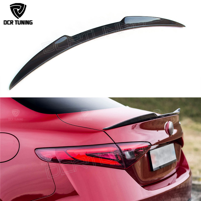 For Alfa Romeo Giulia Spoiler Carbon Fiber Rear Trunk Spoiler Black Finish Quadrifoglio Verde QV Style