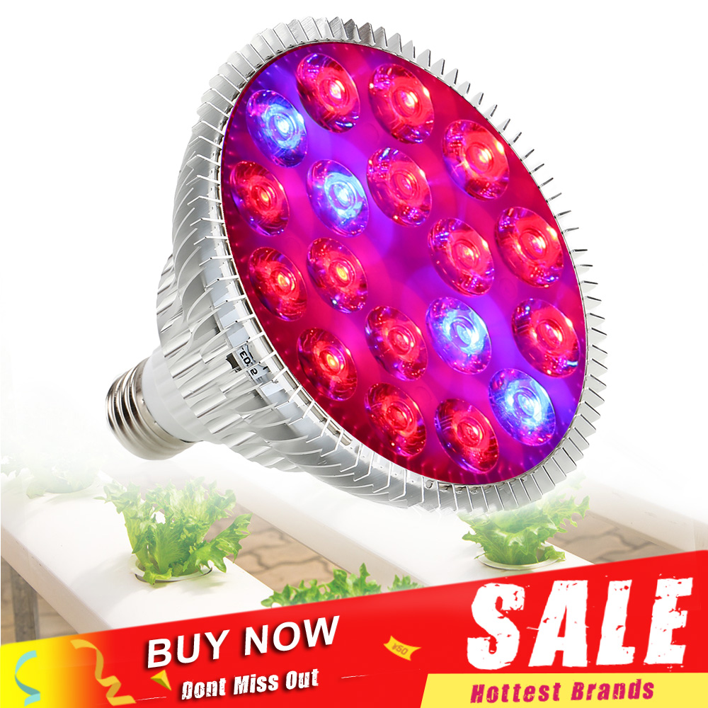 54W E27 LED Grow Light Fitolamp Red Blue Led Growing Lamp Plant Seedling Light For Hydroponics Greenhouse Veges Flower Growth
