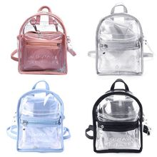 Women Transparent Jelly Small Backpacks Girls Mini Clear Backpack 2018 Summer New Fashion Letter Pack Back Drop Ship