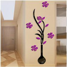Vase May 3 d crystal acrylic solid wall stick a sitting room sofa TV setting wall porch household act the role ofing is tasted