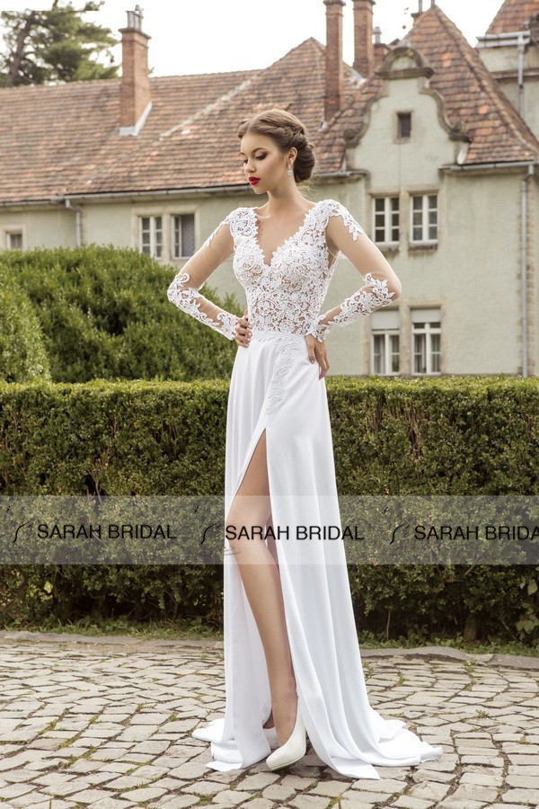 Online Shop Sexy High Slit Chiffon Beach Wedding Dresses Long Sleeve V Neck Lace Gowns Backless Vestido De Noiva Praia HS488