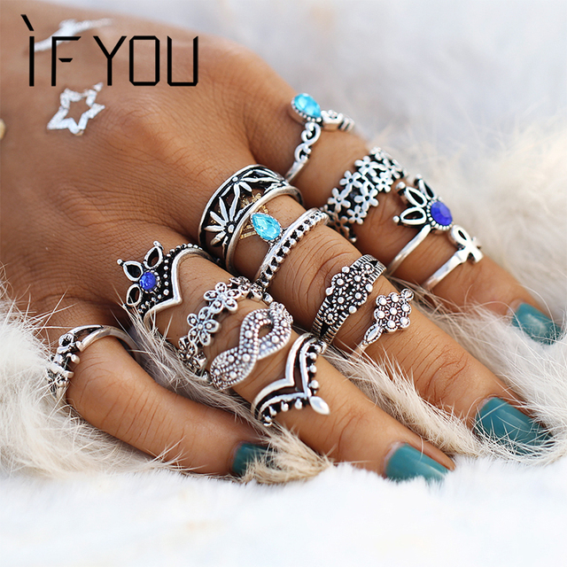 IF YOU 13pcs/Set Bohemian Blue Crystal Rings Set Finger Lotus Flower Ring For Wo