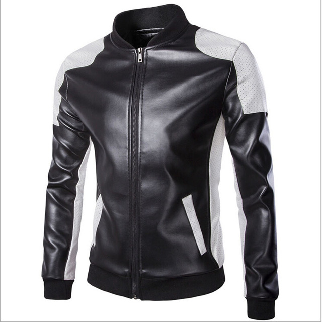 NEW Autumn 2016 Fashion Black And White Color Leather Jacket  Stand Collar Fashion Zipper Jackets Plus Size M-5XL