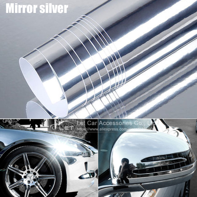 The Newest High Stretchable Mirror Silver Chrome Mirror Flexible Vinyl Wrap Sheet Roll Film Car Sticker Decal Sheet