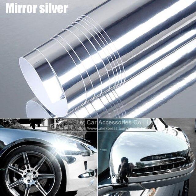 מראה stretchable גבוהה החדש הכסף Chrome Mirror גמיש סרט מתגלגל גיליון לעטוף ויניל גיליון רכב מדבקת מדבקות