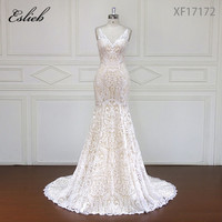 Eslieb Custom made Stunning Vintage White V neck With Cap Sleeves Beaded Mermaid Lace Wedding Dresses Vestido De Renda