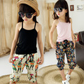 2016 new girls clothing set cute solid color cotton sun-top+ print beach pants 2pcs set for summer girls vetement fille 4-14T