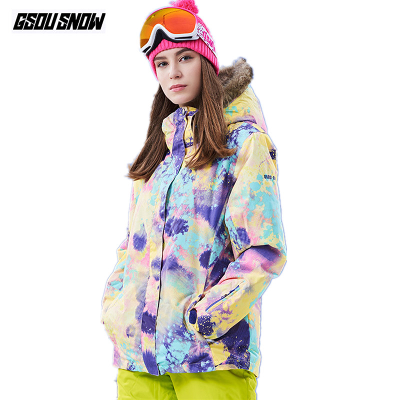 GSOU SNOW Brand Women Ski Jacket Women Snowboard Jacket Waterproof Cheap Skiing Snow Coat Winter Outdoor Snowboarding Clothes цена